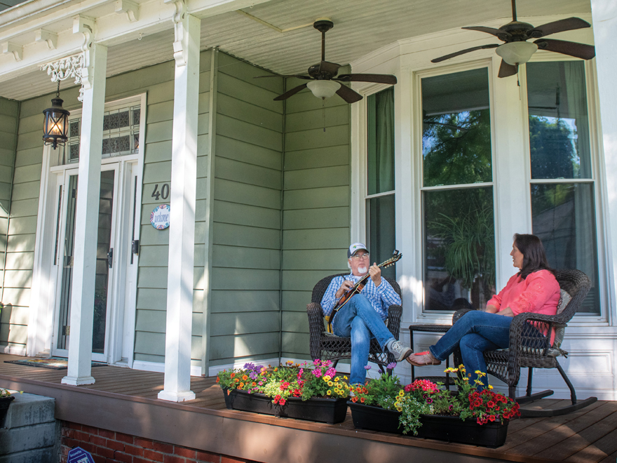 Mark and Monica Hargis on their front porch